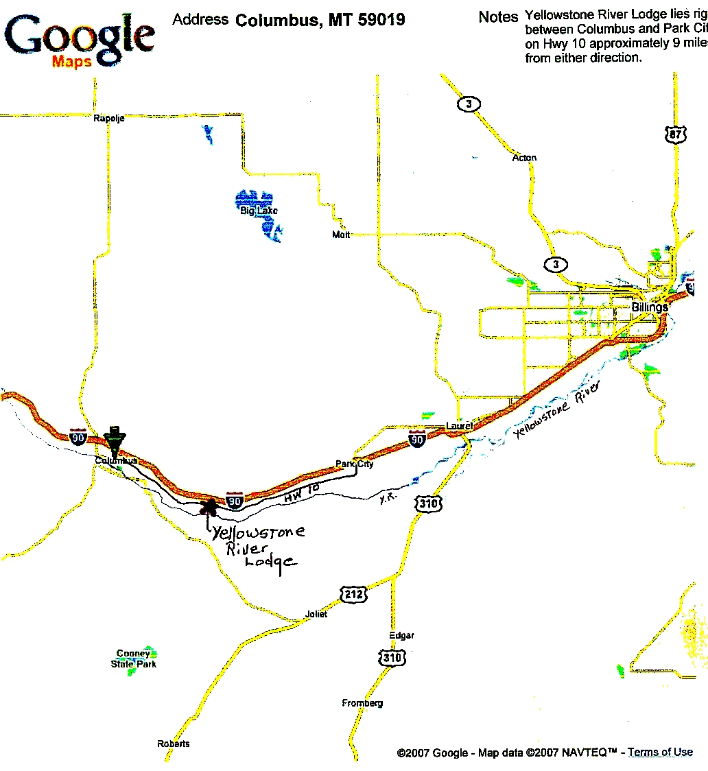 Yellowstone River Lodge Contact UsDirections - Yellowstone river on us map